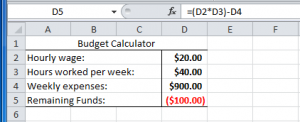 Example of a simple budget calculator